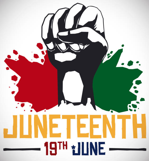 Fist and Splashed African Colors for Juneteenth Celebration Commemorative design for Juneteenth celebration with fist and paint splashes in Pan-African colors and date for this event: 19th June. civil rights stock illustrations