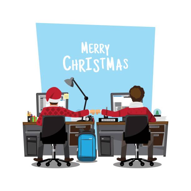 fist bump kollegen zusammenarbeit teamwork weihnachtstag konzept, vektor-illustration-cartoon - firmenweihnachtsfeier stock-grafiken, -clipart, -cartoons und -symbole