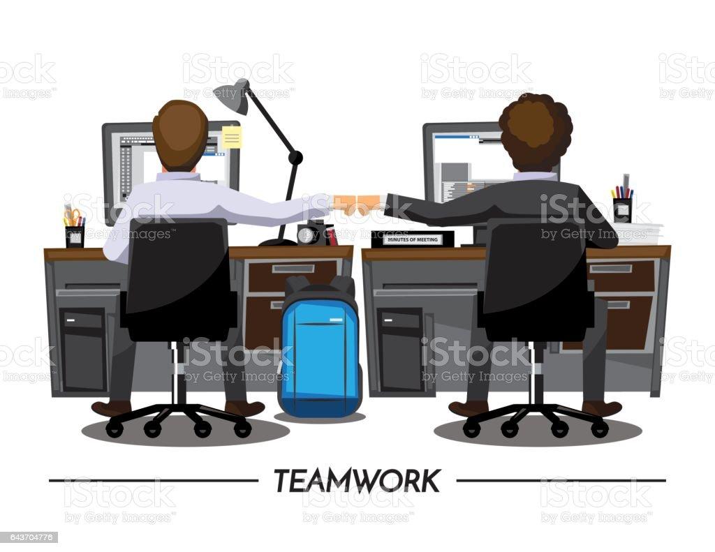 拳バンプ同僚コラボレーション チームワーク概念、ベクトル イラスト漫画 ベクターアートイラスト