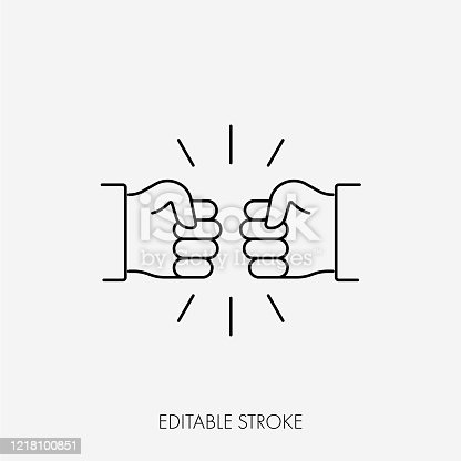 Fist bumping. Cute simple cartoon design. Editable Stroke