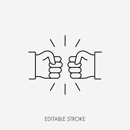 Fist bumping. Cute simple cartoon design. Editable Stroke