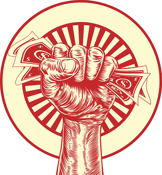 Fist cash money concept An original drawing of a fist holding money in a vintage propaganda wood cut style minimum wage stock illustrations
