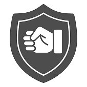 Fist emblem solid icon, self defense concept, clenched hand sign on white background, power badge icon in glyph style for mobile concept and web design. Vector graphics