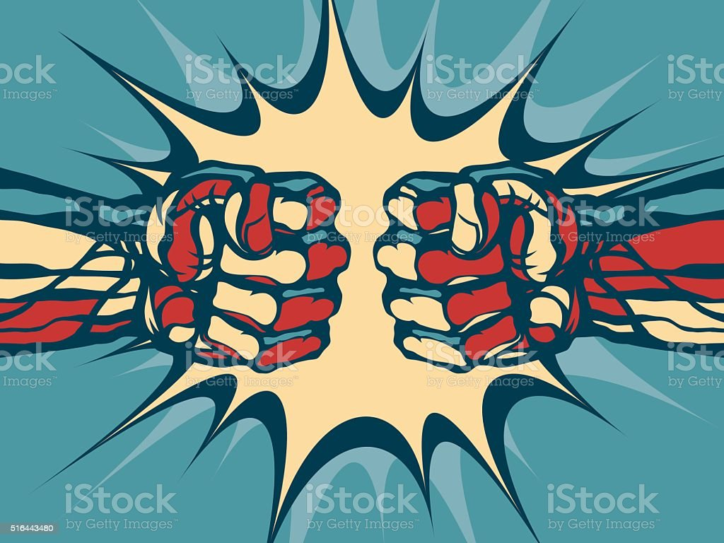 Fist fight. vector art illustration
