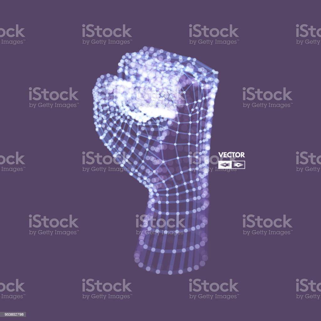 Fist. Fighting and freedom concept. Human Arm. Hand Model. Connection structure. 3D Vector illustration. vector art illustration