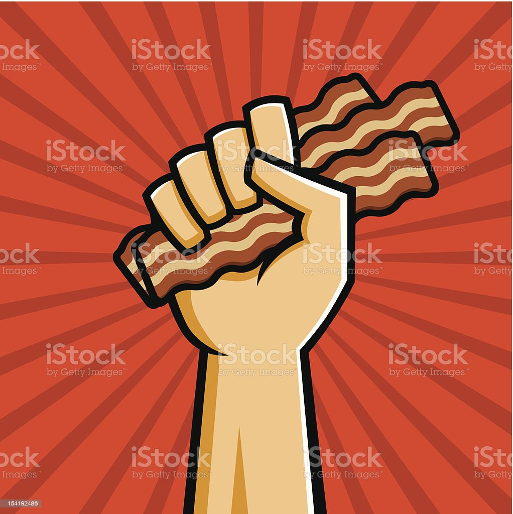Fist Full of Bacon vector art illustration