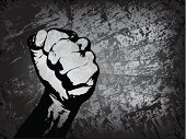 Vector fist with grunge background - eps 10 with blends and gradient mesh