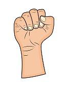Fist, Hand gesture vector - realistic cartoon illustration.