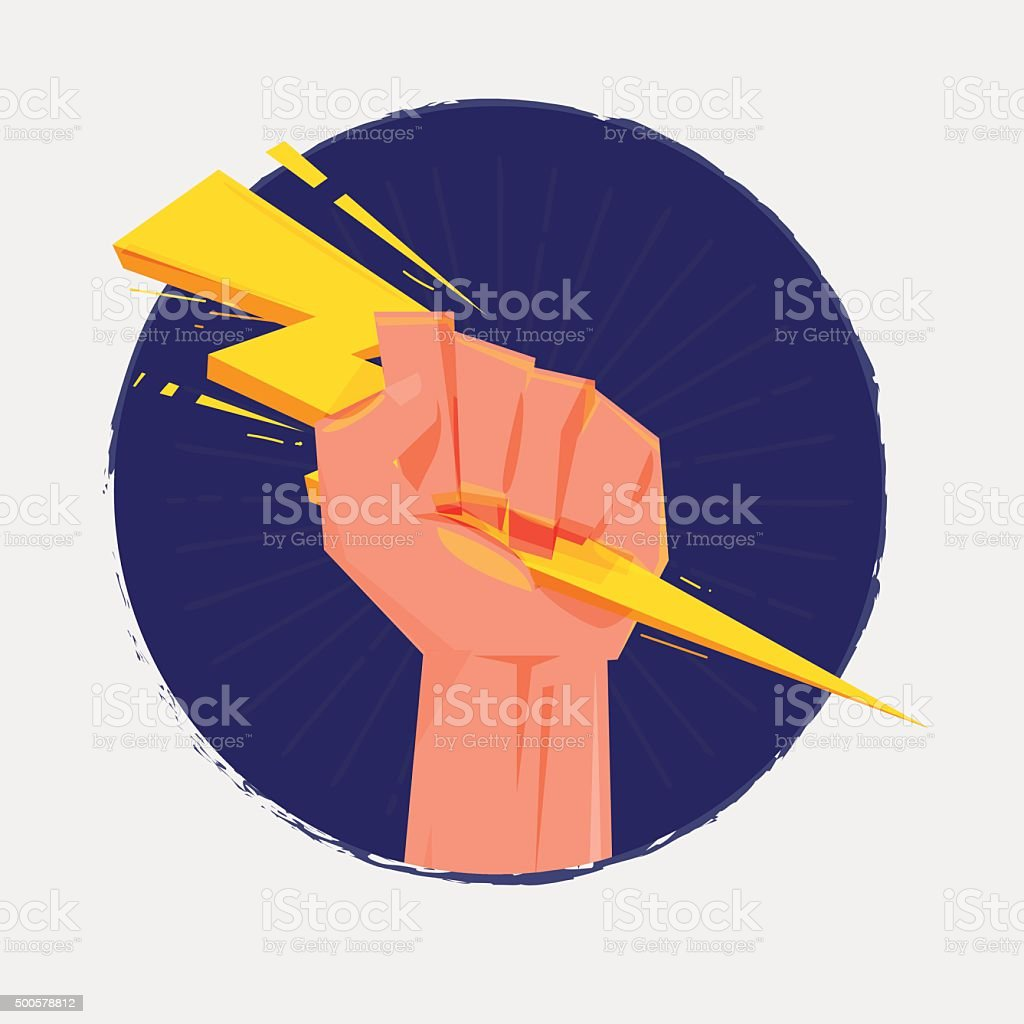 Fist hand holding thunderbolt. Zeus and power concept - vector