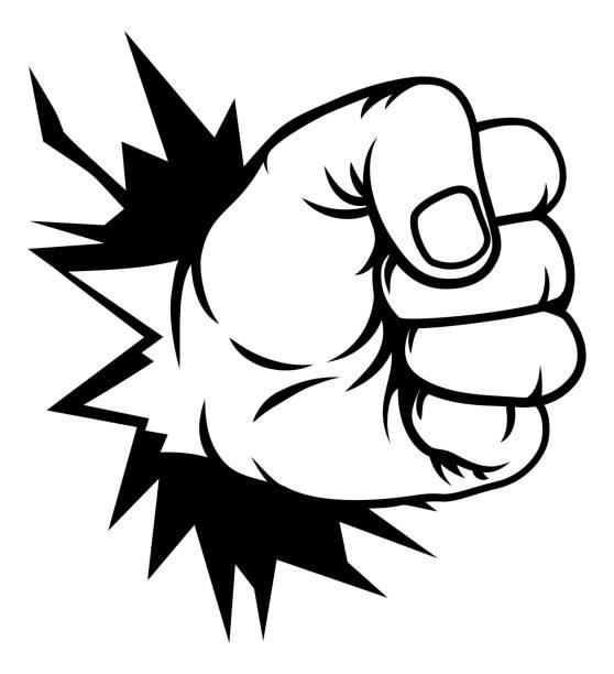 stockillustraties, clipart, cartoons en iconen met vuist hand ponsen door muur - punch