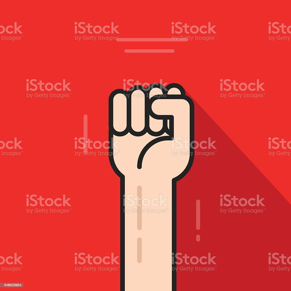 Fist hand up, revolution logo idea, freedom symbol, soviet concept vector art illustration