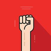 Fist hand up, revolution logo idea, freedom symbol, soviet concept