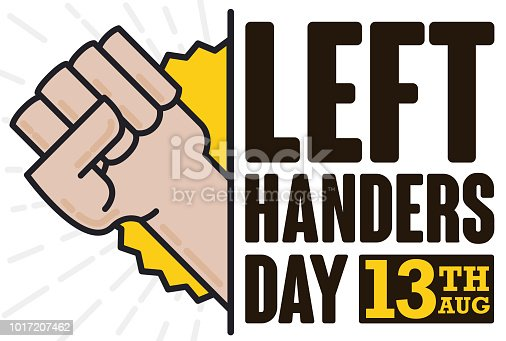 Design in flat style with left fist coming out from a sign with greeting message for Left Handers Day celebration in August 13.