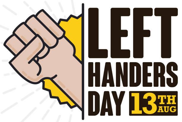 illustrazioni stock, clip art, cartoni animati e icone di tendenza di fist high up commemorating left handers day celebration - mancino