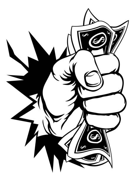 Fist Holding Cash Money Breaking Background A fist hand holding money in the form of cash paper dollar bills and breaking through the background or wall. In a vintage intaglio woodcut engraved or retro propaganda style minimum wage stock illustrations