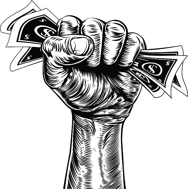 Fist holding money concept An original illustration of a fist holding money in a vintage wood cut propaganda style minimum wage stock illustrations
