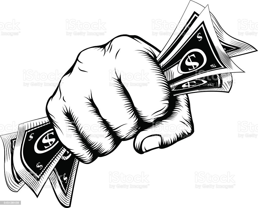 Fist holding money concept vector art illustration