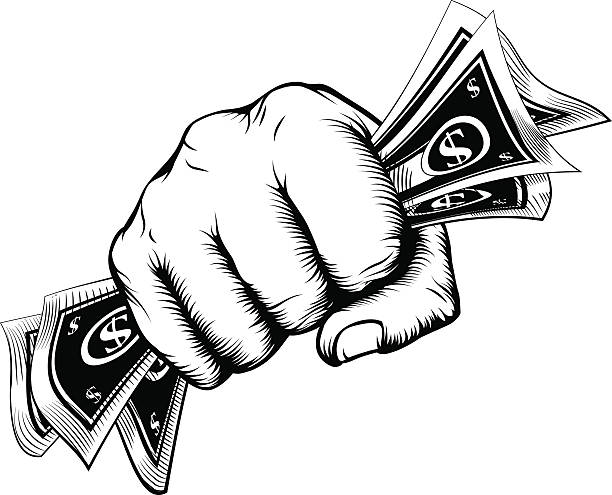 Fist holding money concept A fist holding cash money dollar bills in a vintage woodcut style minimum wage stock illustrations