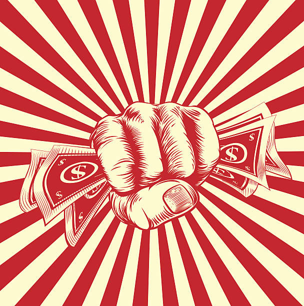 Fist Holding Money A hand holding money cash in a vintage propaganda poster wood cut style minimum wage stock illustrations