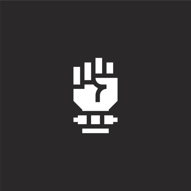 fist icon. Filled fist icon for website design and mobile, app development. fist icon from filled rock and roll collection isolated on black background. fist icon. Filled fist icon for website design and mobile, app development. fist icon from filled rock and roll collection isolated on black background. human limb stock illustrations