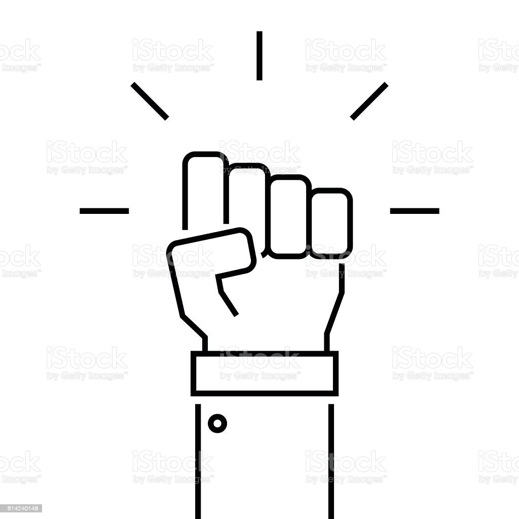 Fist icon in thin line style. vector art illustration