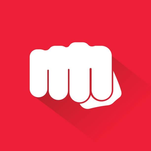 stockillustraties, clipart, cartoons en iconen met vuist pictogram geïsoleerd op rode achtergrond. vectorillustratie. - punch