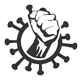 Vector of Fist in Coronavirus Icon