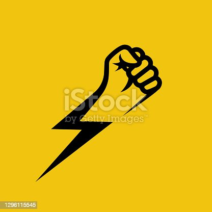 istock Fist lightning. Symbol protest. Black silhouette of a hand and flash. 1296115545