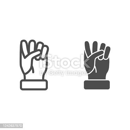 istock Fist line and solid icon, hand gestures concept, power gesture sign on white background, Raised fist icon in outline style for mobile concept and web design. Vector graphics. 1242637570