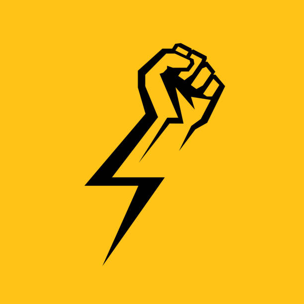 Fist male hand, proletarian protest symbol. Power sign Fist male hand, proletarian protest symbol. Power sign thunderstorm stock illustrations