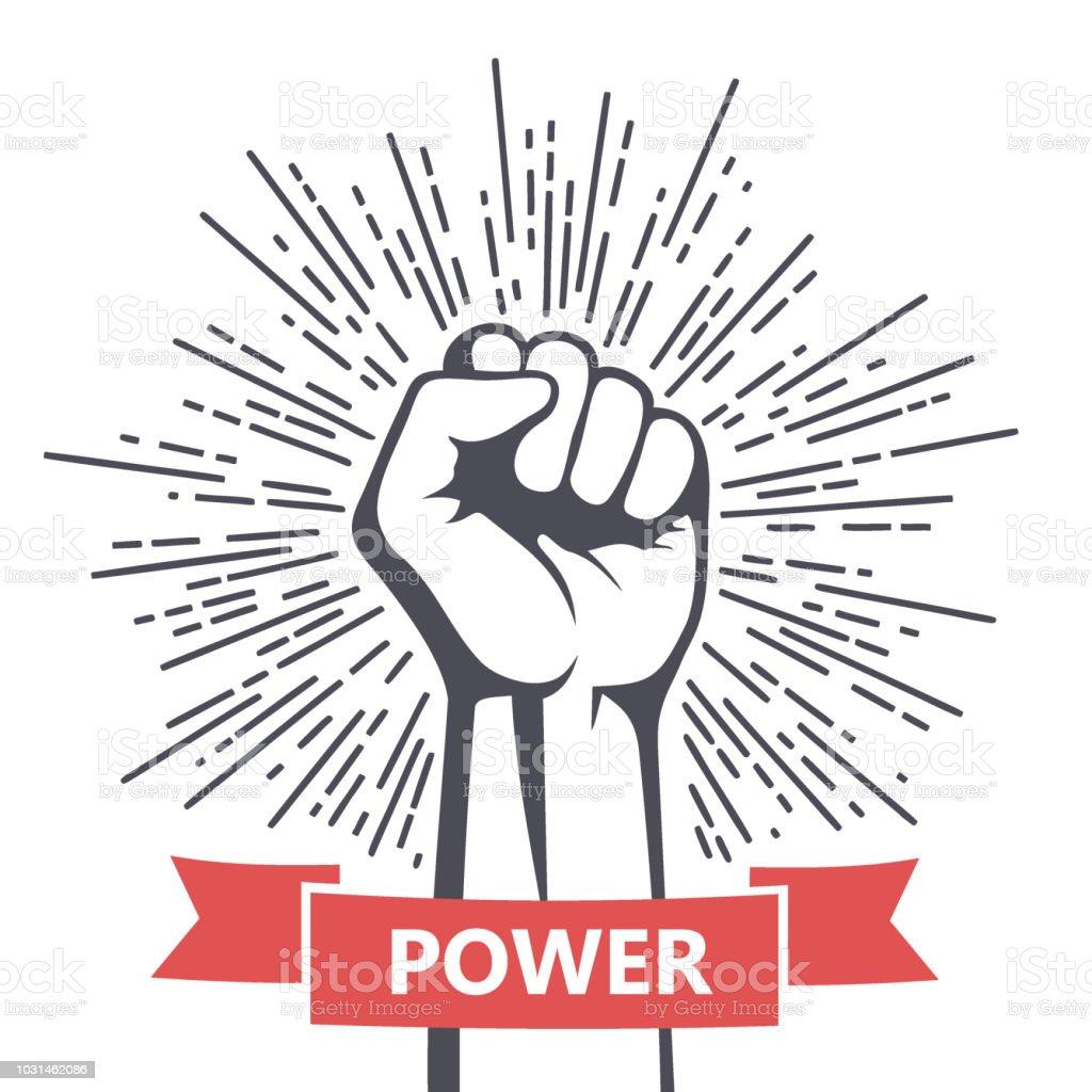 Fist male hand, proletarian protest symbol. Power sign vector art illustration