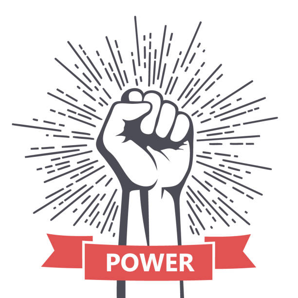 Fist male hand, proletarian protest symbol. Power sign vector art illustration