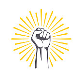 Fist male hand, proletarian protest symbol. Power sign.
