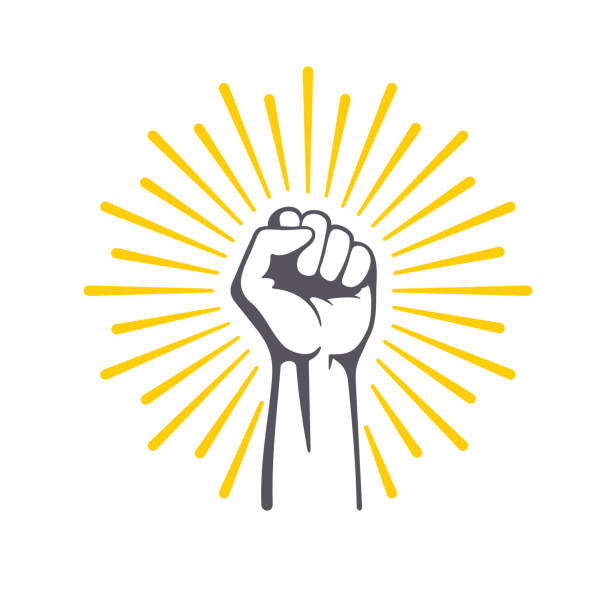 fist male hand, proletarian protest symbol. power sign. - białoruś stock illustrations