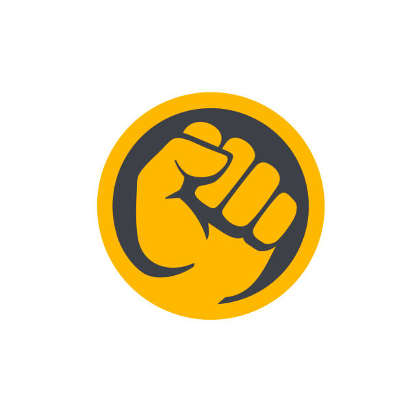 Fist male hand, protest symbol. Power sign in circle. vector art illustration