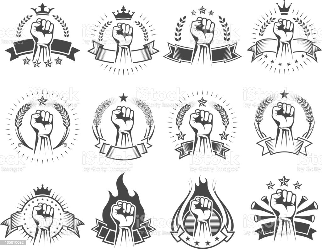 Fist on Black and White Badges royalty-free stock vector art