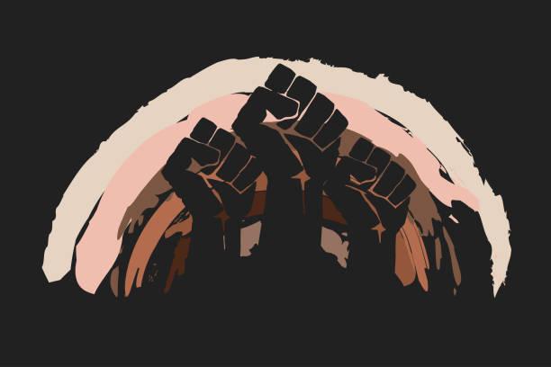 ilustraciones, imágenes clip art, dibujos animados e iconos de stock de puño protestando sobre el fondo del arco iris en colores de piel. no hay concepto de racismo. diferentes razas protestan, unidad de la comunidad interracial. - black people