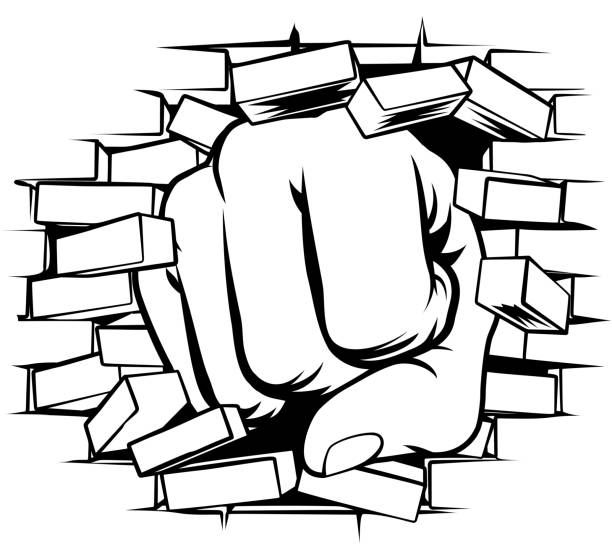 Fist Punching Through Brick Wall vector art illustration