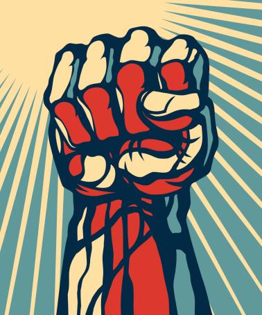 Fist raised up.