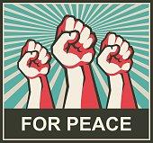 istock fist retro poster 857369956