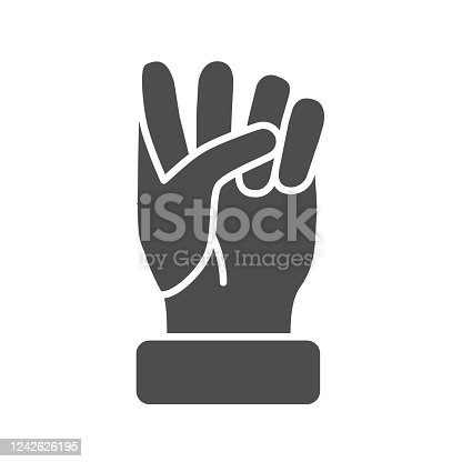 istock Fist solid icon, hand gestures concept, power gesture sign on white background, Raised fist icon in glyph style for mobile concept and web design. Vector graphics. 1242626195