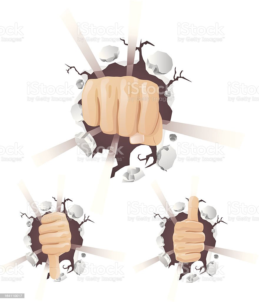 Fist Thumbs Up and Down Breaking Wall royalty-free stock vector art