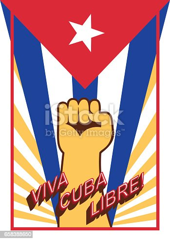 istock Fist up power on flag backdrop. Viva Cuba libre! Long live the free Cuba! Spain language. Vintage style poster. 658388650