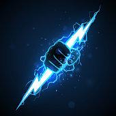 istock Fist with blue lightning illustration 1209306577