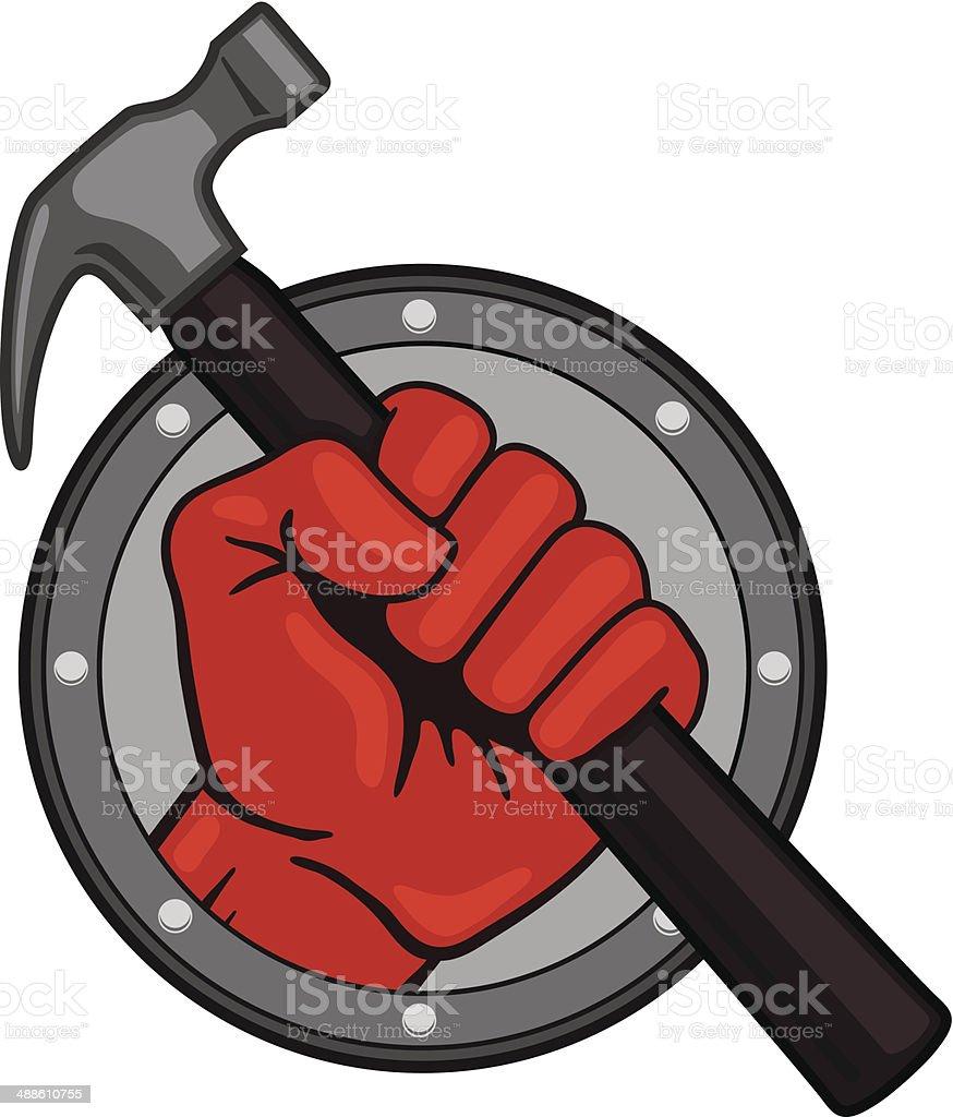 Vector Illustration Hammer: Fist With Hammer Stock Illustration