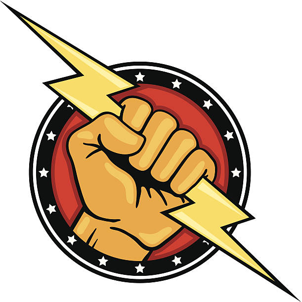 Royalty Free Fist With Lightning Bolt Clip Art Vector Images