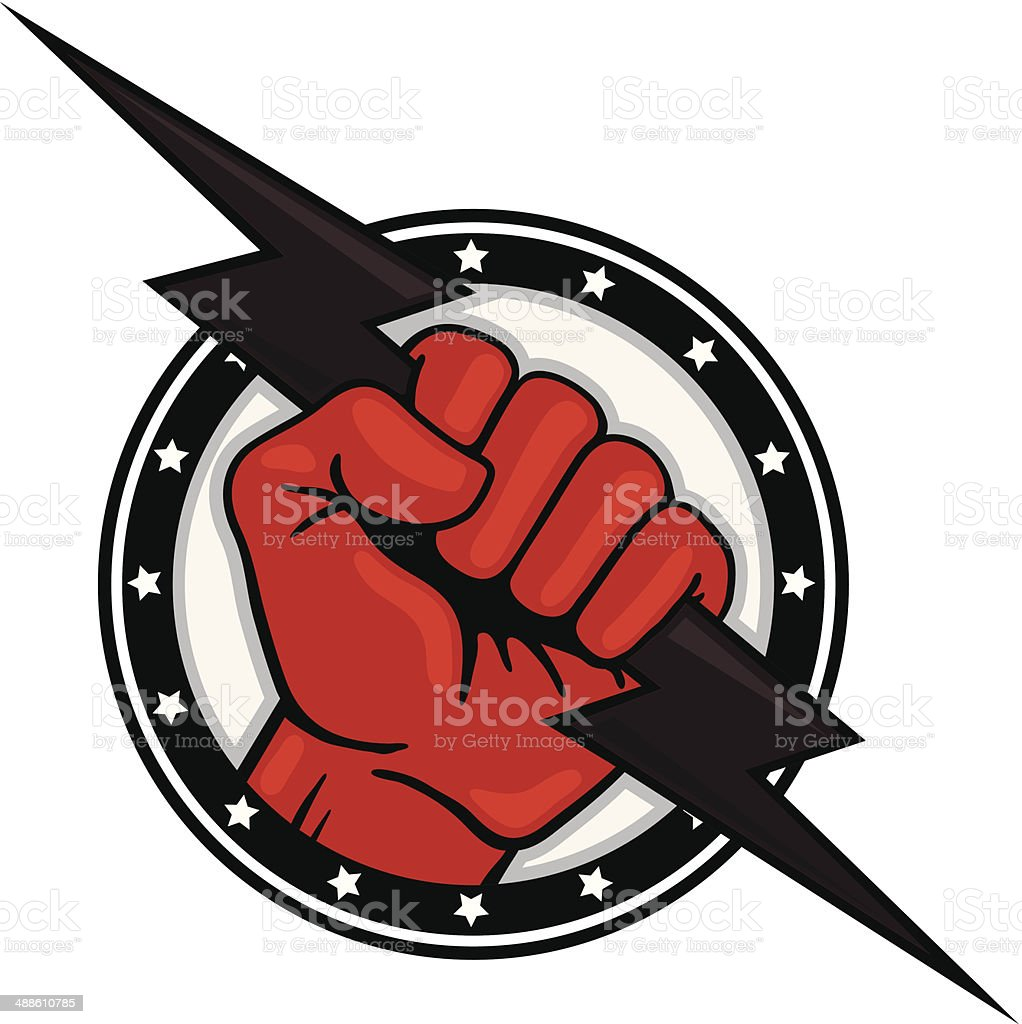 Fist with Lightning Bolt vector art illustration