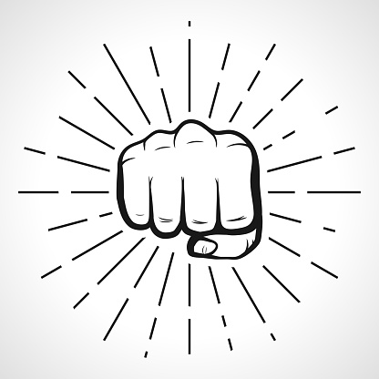 Fist with sunbursts, hand silhouette. vector