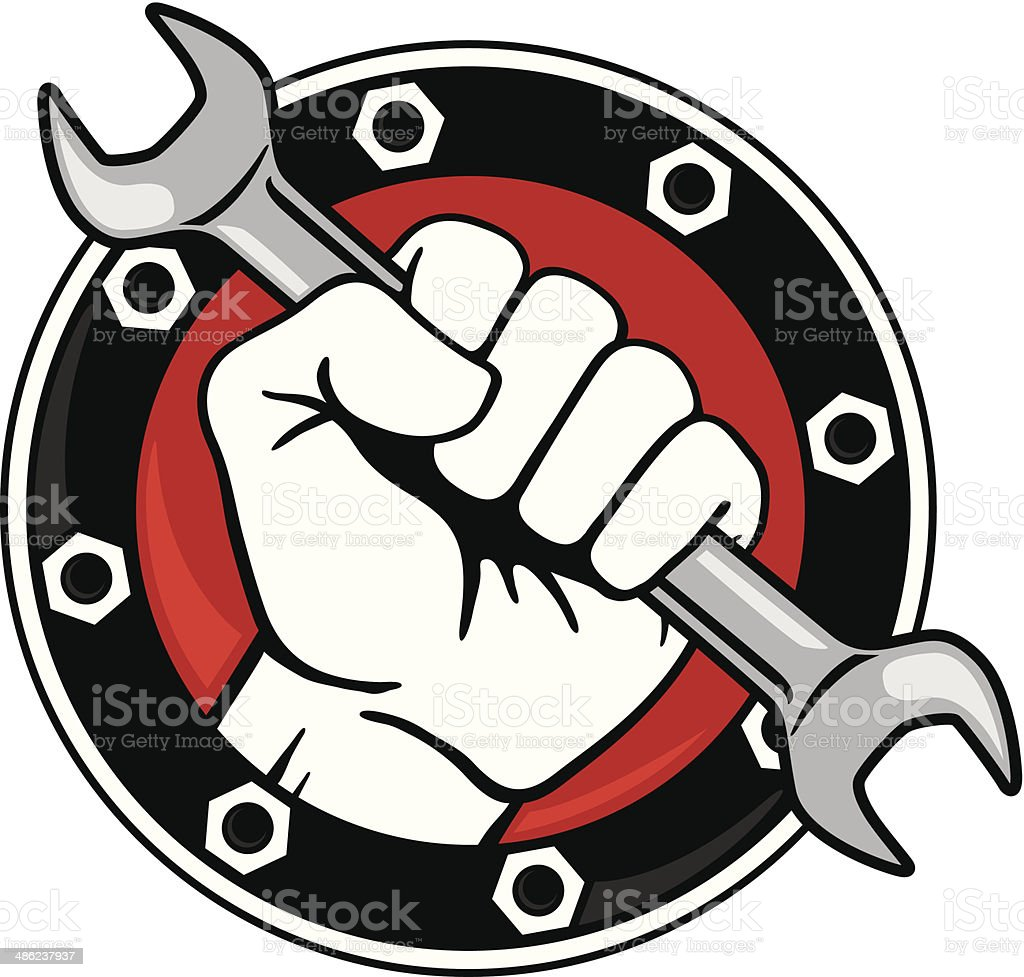 Fist with Wrench royalty-free stock vector art