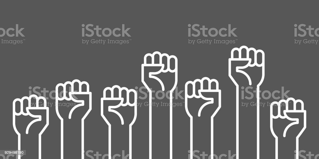 Fists hands up vector illustration. Concept of unity, revolution, fight, cooperation. Flat outline design. vector art illustration